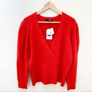 Something Navy red scarlet wrap sweater top L